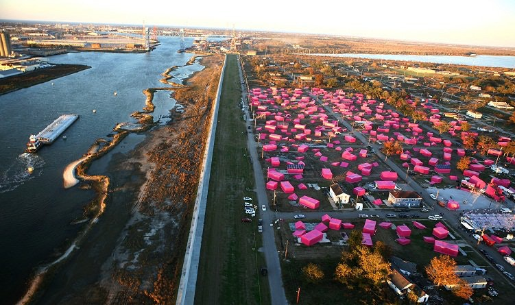 Brad Pitt's 'Make It Right' foundation launches its primary initiative with a huge 150 Pink Houses art project in Ninth Ward in 2007. (Getty Images/Getty Images News/Brent Stirton)