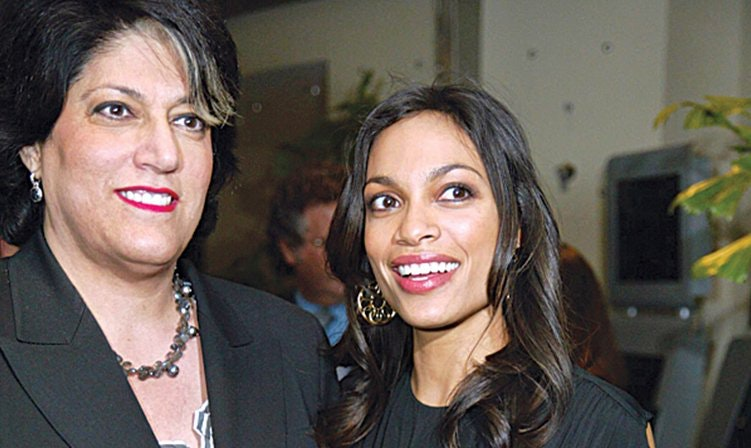 With actress Rosario Dawson.
