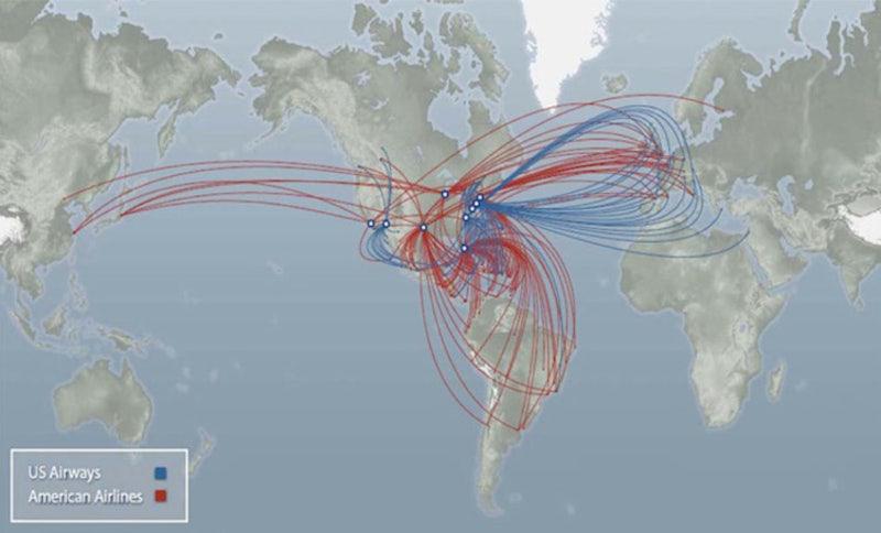 US Airways, American Merger: Domestic, International Route Maps ...