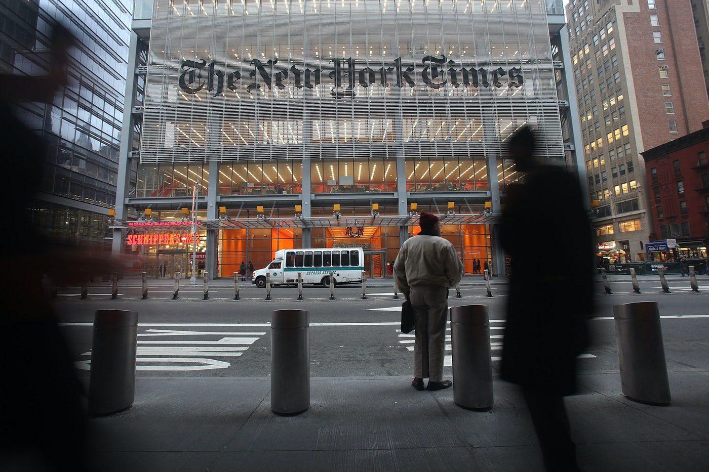 The New York Times building in Manhattan, seen from across the street.